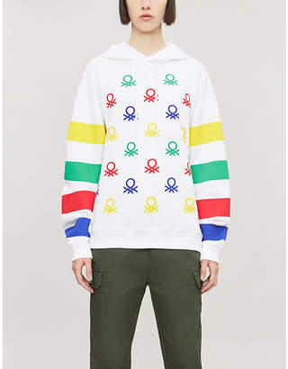 Benetton Graphic-print drawstring cotton-jersey hoody