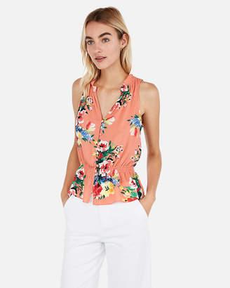 Express Floral Cinched Waist Sleeveless Shirt