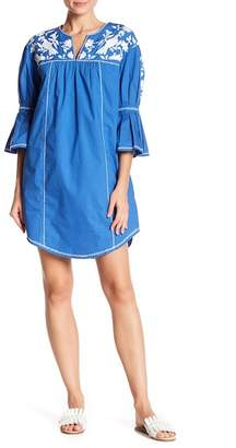 Joie Clodagh Embroidered Bell Sleeve Dress