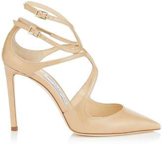 Jimmy Choo LANCER 100 Nude Patent Leather Pointy Toe Pumps