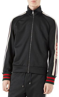 Gucci Technical Jersey Track Jacket, Black/White $1,100 thestylecure.com