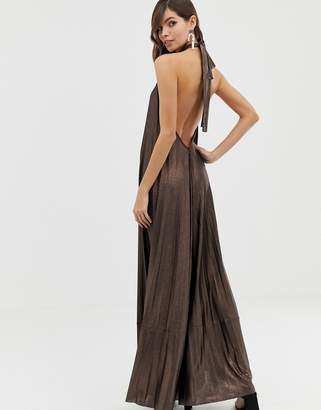 Asos Design DESIGN halter backless metallic maxi dress