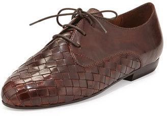 Sesto Meucci Naxos Woven Leather Oxford, Dark Tan $188 thestylecure.com