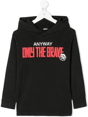 Diesel slogan-print hooded T-shirt