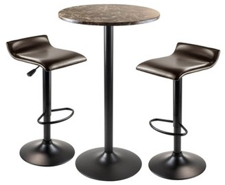 Winsome Wood Cora 3pc Round Pub Table w/ 2 Airlift Swivel Stools