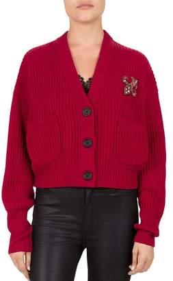 The Kooples Embellished Fleur-de-Lis Cropped Cardigan