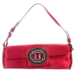 Jimmy Choo Leather-Trimmed Embellished Satin Handle Bag