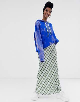 Asos Design DESIGN check print bias cut city maxi skirt