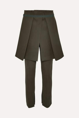 Sacai Melton Layered Grosgrain-trimmed Wool-blend Slim-leg Pants - Army green