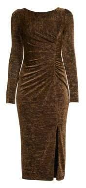 Rachel Zoe Lovey Ruched Metallic Sheath Dress