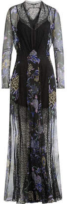 Etro Printed Silk Chiffon Floor Length Dress with Lace