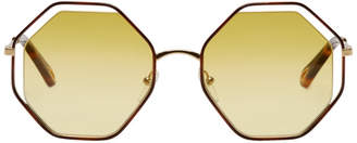 Chloé Gold and Yellow Small Poppy Sunglasses