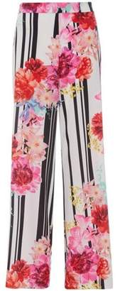 Dorothy Perkins Womens *Quiz Cream Floral and Stripe Print Palazzo Trousers
