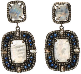 Bavna Silver Cushion Drop Earrings with Diamonds, Sapphire & Rainbow Moonstone