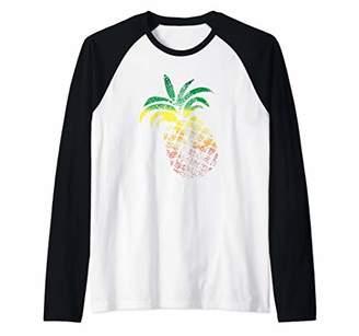 Pineapple Reggae Jamaica Tropical Caribbean Fruit Raglan Baseball Tee