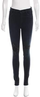 J Brand Mid-Rise Embellished Skinny Jeans