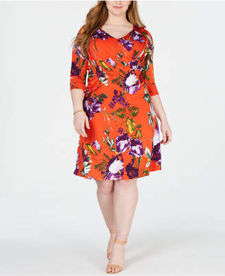 NY Collection Elementz Plus & Petite Plus Size Surplice Printed Dress