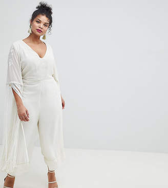 Asos DESIGN Curve Premium Jumpsuit With Embroidery And Fringing