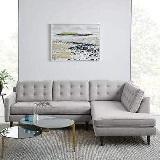 west elm Drake 2-Piece Terminal Chaise Sectional - Platinum (Twill)