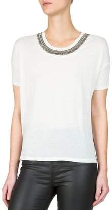 The Kooples Short-Sleeved Embellished Neck T-Shirt