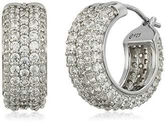 Swarovski Platinum-Plated Sterling Zirconia All Round Pave Huggie Hoop Earrings