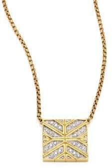 John Hardy Modern Chain Diamond& 18K Yellow Gold Pendant Necklace