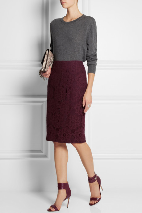 Burberry Crocheted lace pencil skirt