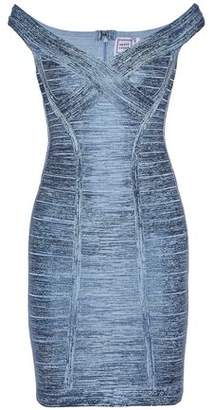 Herve Leger Off-The-Shoulder Coated Bandage Mini Dress