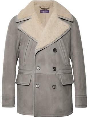 Ralph Lauren Purple Label Longwood Double-Breasted Shearling Coat