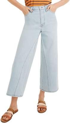 Madewell High Waist Pieced Inset Crop Wide Leg Jeans