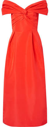 Carolina Herrera Off-the-shoulder Knotted Silk-faille Midi Dress - Red