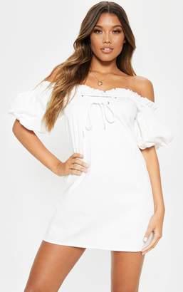 PrettyLittleThing White Lace Up Bardot Shift Dress