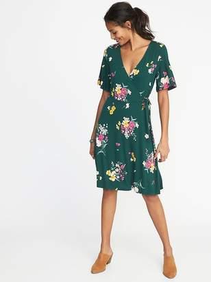 Old Navy Tie-Belt Flutter-Sleeve Faux-Wrap Dress for Women