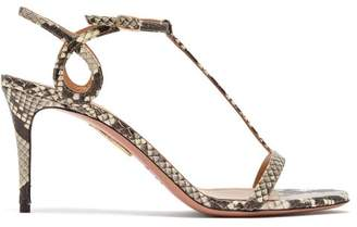 Aquazzura Almost Bare 75 Python Effect Leather Sandals - Womens - Python
