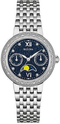 Bulova Diamonds Womens Diamond-Accent Moon Phase Stainless Steel Bracelet Watch 96R210