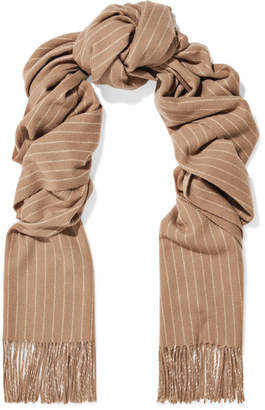 Rag & Bone Fringed Pinstriped Wool Scarf - Camel