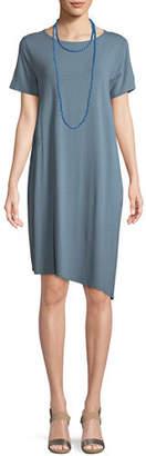 Eileen Fisher Ballet-Neck Asymmetric-Hem Jersey Dress, Plus Size
