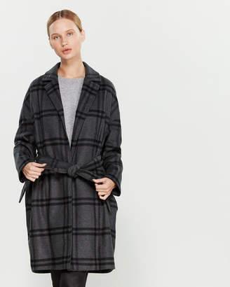 Liviana Conti Plaid Belted Wrap Coat