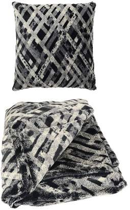 Aviva Stanoff Design Faux Fur Pillow & Throw Blanket Set