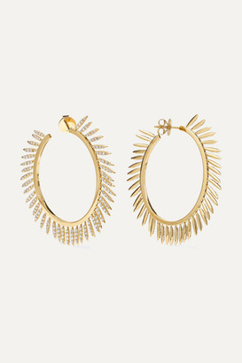 Ileana Makri - Grass Sunny 18-karat Gold Diamond Hoop Earrings
