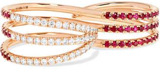 Melissa Kaye - 18-karat Rose Gold, Ruby And Diamond Two-finger Ring