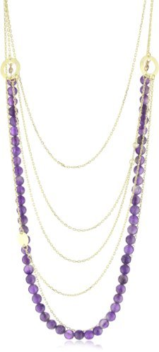 Marcia Moran Amethyst Facetted Stone and Layered Necklace, 22.75