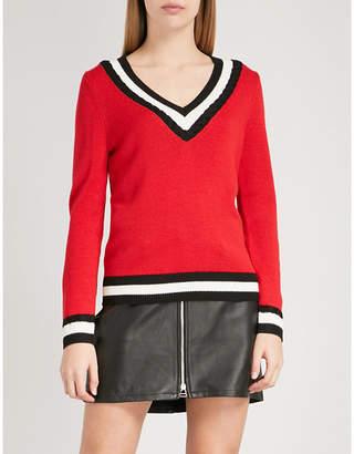 Claudie Pierlot Mike striped-trim wool-blend jumper