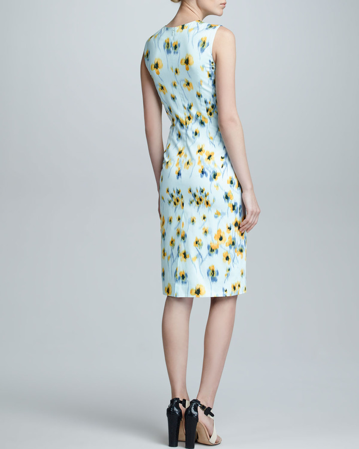Carolina Herrera Deco Floral-Print Sheath Dress, Yellow