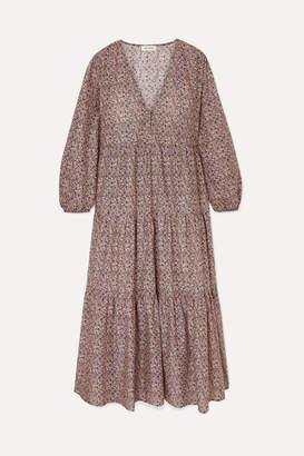 Matteau - Tiered Floral-print Cotton-poplin Dress - Purple