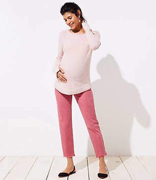 LOFT Petite Maternity Frayed Slim Chinos
