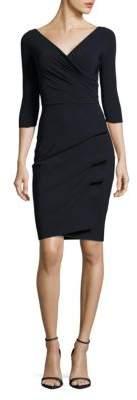 Chiara Boni Three-Quarter-Sleeve Pleated Sheath Dress