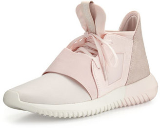 Adidas Tubular Defiant Jersey & Suede Trainer, Halo Pink $110 thestylecure.com