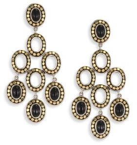 John Hardy Dot Black Onyx & 18K Yellow Gold Chandelier Earrings $1,695 thestylecure.com