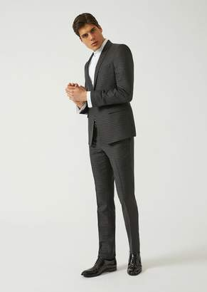 Emporio Armani Slim Fit Suit In Mohair And Virgin Wool